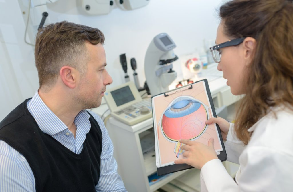 Man with glaucoma sitting consulting with his optometrist for an examination both looking at a diagram of an eye with the disease
